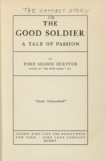 an analysis of the good soldier by ford maddox ford I came across ford madox ford's 'the good soldier: a tale of passion' when i was in my teens, in a box of my late grandmother's books.